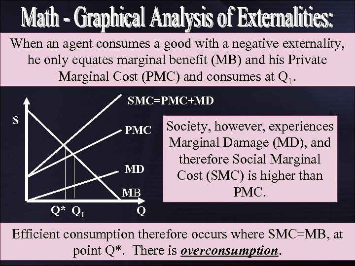 When an agent consumes a good with a negative externality, he only equates marginal