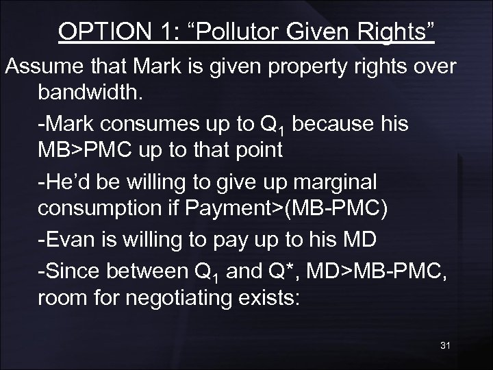 """OPTION 1: """"Pollutor Given Rights"""" Assume that Mark is given property rights over bandwidth."""