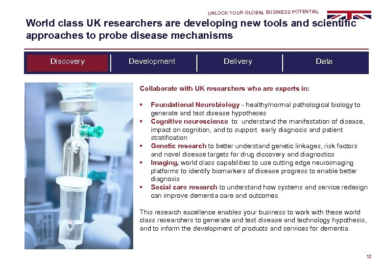 UNLOCK YOUR GLOBAL BUSINESS POTENTIAL World class UK researchers are developing new tools and