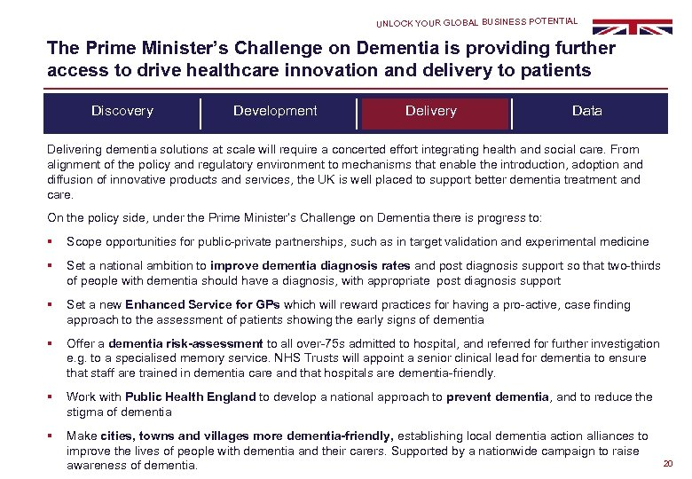 UNLOCK YOUR GLOBAL BUSINESS POTENTIAL The Prime Minister's Challenge on Dementia is providing further