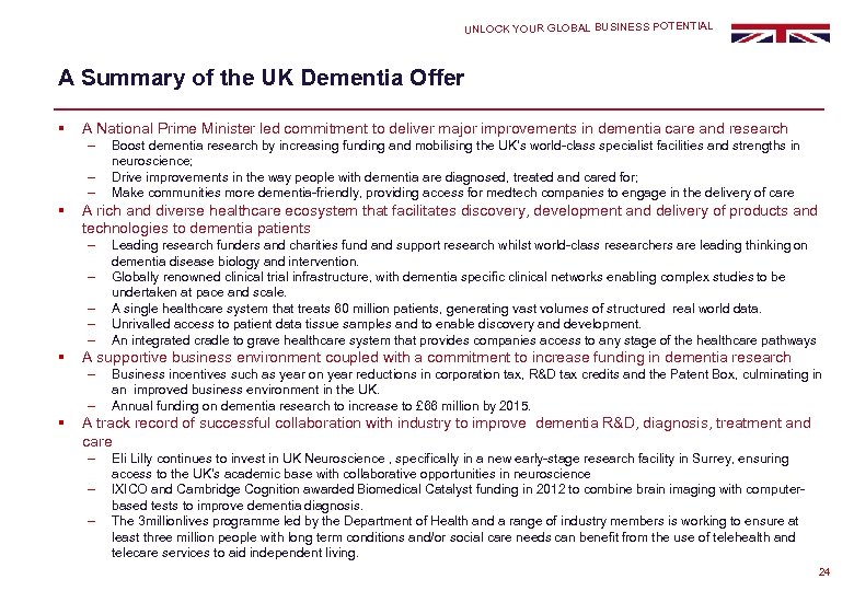 UNLOCK YOUR GLOBAL BUSINESS POTENTIAL A Summary of the UK Dementia Offer § A