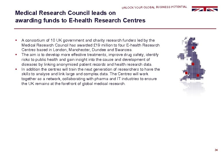 UNLOCK YOUR GLOBAL BUSINESS POTENTIAL Medical Research Council leads on awarding funds to E-health