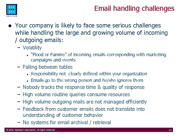 Email handling challenges l Your company is likely to face some serious challenges while