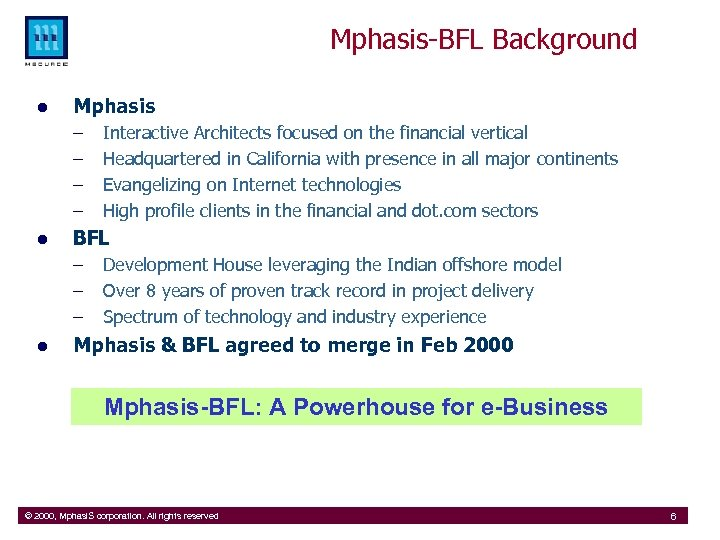 Mphasis-BFL Background l Mphasis – – l BFL – – – l Interactive Architects