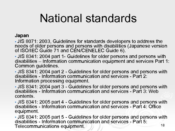 National standards Japan • JIS 8071: 2003, Guidelines for standards developers to address the