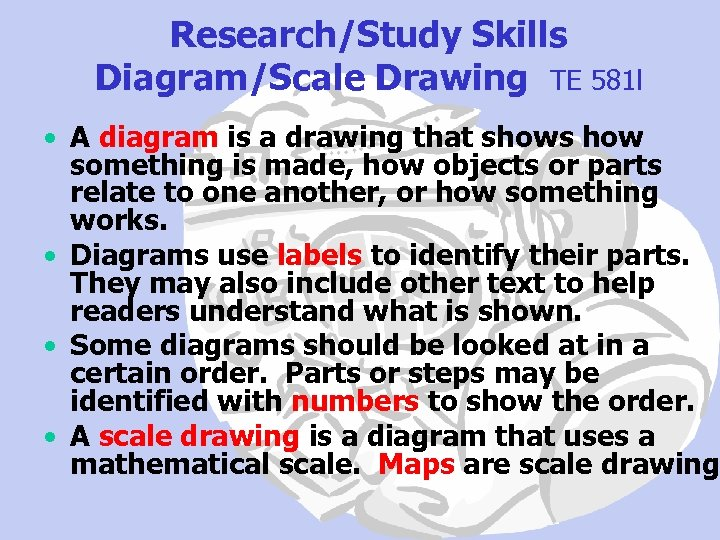 Research/Study Skills Diagram/Scale Drawing TE 581 l • A diagram is a drawing that