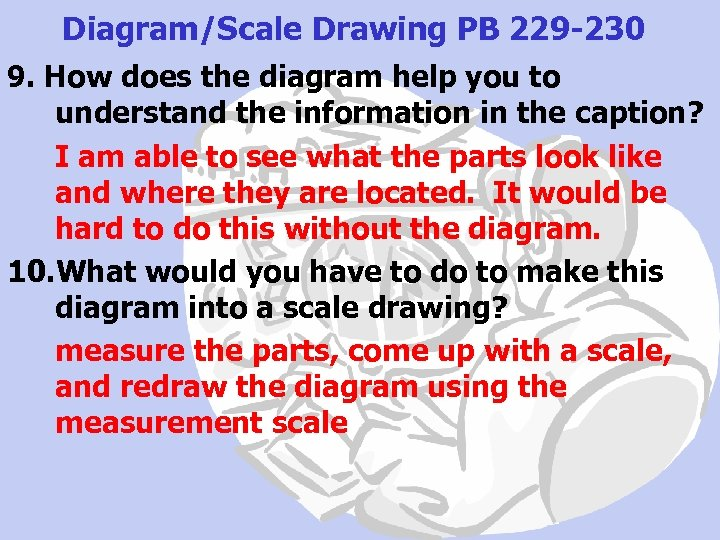 Diagram/Scale Drawing PB 229 -230 9. How does the diagram help you to understand