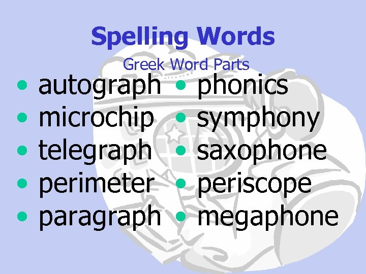 Spelling Words • • • Greek Word Parts autograph microchip telegraph perimeter paragraph •