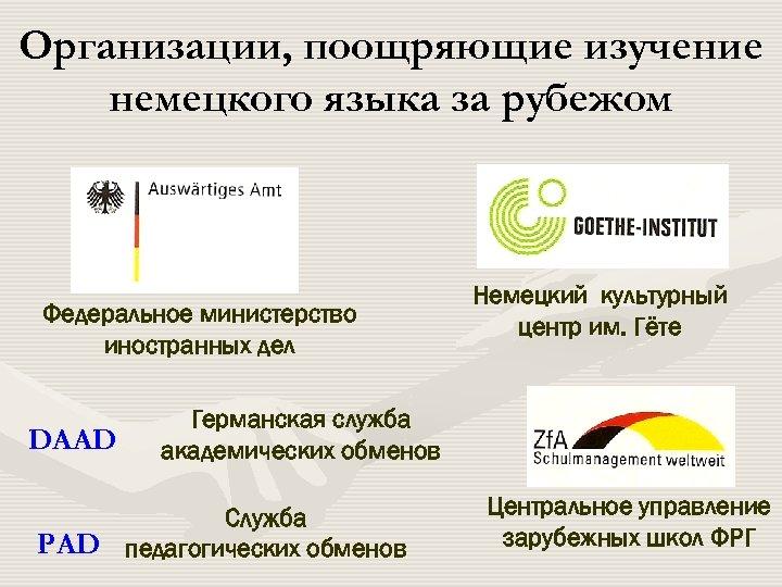 Организации, поощряющие изучение немецкого языка за рубежом Федеральное министерство иностранных дел DAAD Немецкий культурный