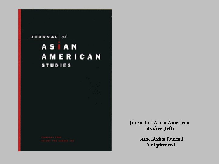 Journal of Asian American Studies (left) Amer. Asian Journal (not pictured)