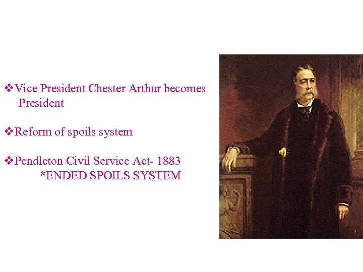 v. Vice President Chester Arthur becomes President v. Reform of spoils system v. Pendleton