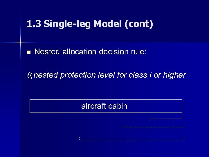 1. 3 Single-leg Model (cont) n Nested allocation decision rule: i nested protection level