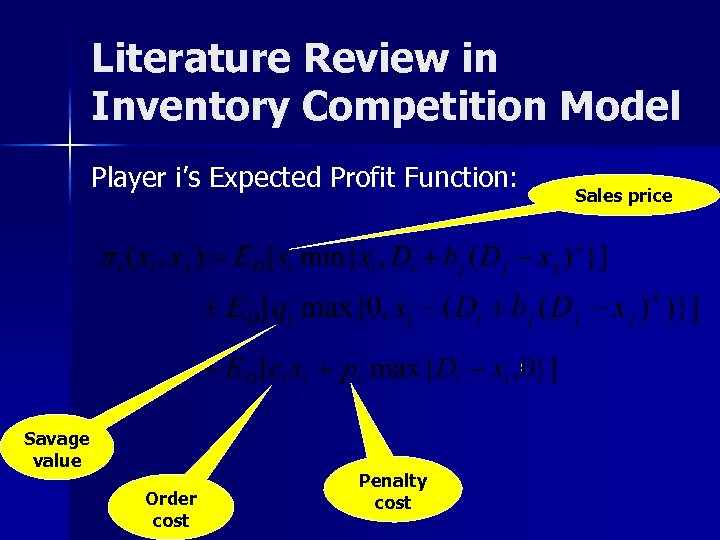 Literature Review in Inventory Competition Model Player i's Expected Profit Function: Savage value Order