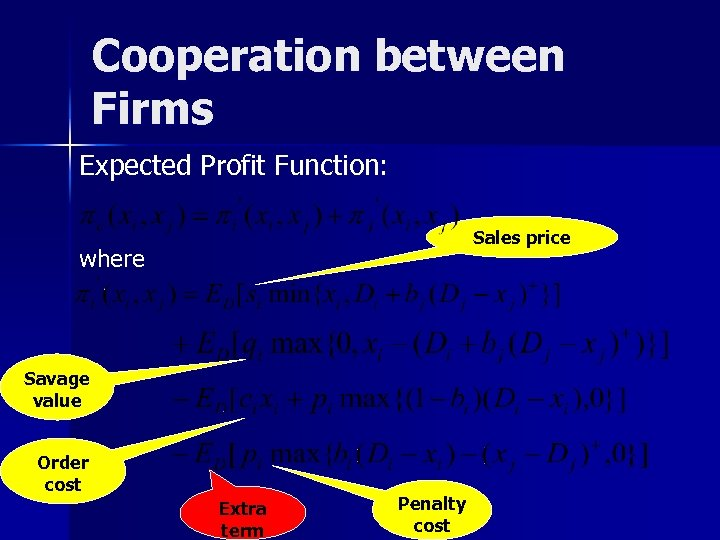 Cooperation between Firms Expected Profit Function: Sales price where Savage value Order cost Extra