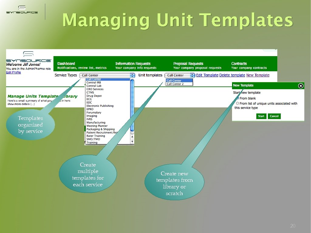 Managing Unit Templates organized by service Create multiple templates for each service Create new