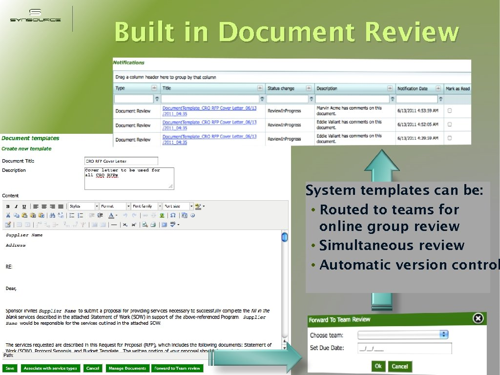 Built in Document Review System templates can be: • Routed to teams for online