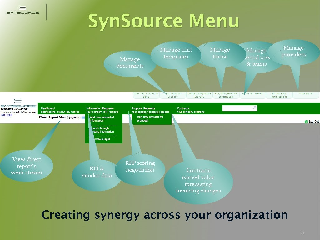 Syn. Source Menu Manage documents View direct report's work stream RFI & vendor data