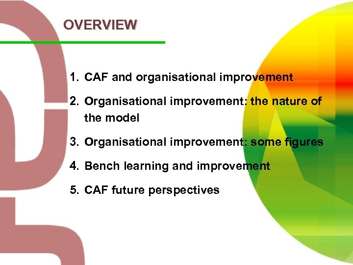 OVERVIEW 1. CAF and organisational improvement 2. Organisational improvement: the nature of the model