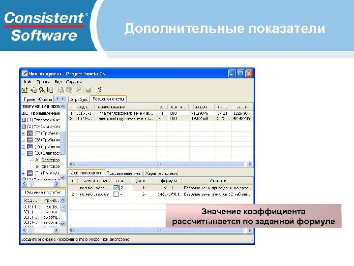 Дополнительные показатели Значение коэффициента рассчитывается по заданной формуле