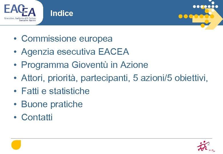 Indice • • Commissione europea Agenzia esecutiva EACEA Programma Gioventù in Azione Attori, priorità,