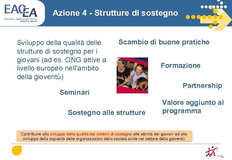 Azione 4 - Strutture di sostegno Sviluppo della qualità delle strutture di sostegno per