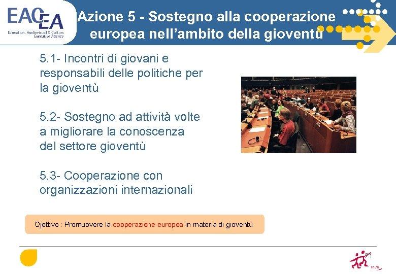 Azione 5 - Sostegno alla cooperazione europea nell'ambito della gioventù 5. 1 - Incontri