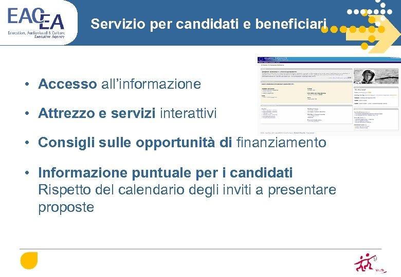 Servizio per candidati e beneficiari • Accesso all'informazione • Attrezzo e servizi interattivi •
