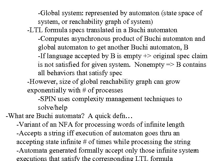 -Global system: represented by automaton (state space of system, or reachability graph of system)