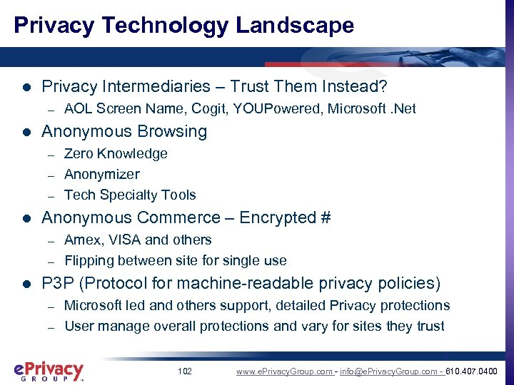 Privacy Technology Landscape l Privacy Intermediaries – Trust Them Instead? – l Anonymous Browsing