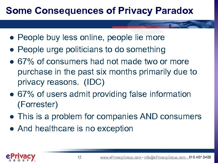 Some Consequences of Privacy Paradox l l l People buy less online, people lie