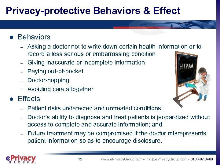 Privacy-protective Behaviors & Effect l Behaviors – – – l Asking a doctor not