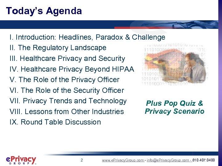 Today's Agenda I. Introduction: Headlines, Paradox & Challenge II. The Regulatory Landscape III. Healthcare