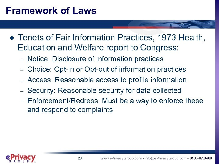 Framework of Laws l Tenets of Fair Information Practices, 1973 Health, Education and Welfare