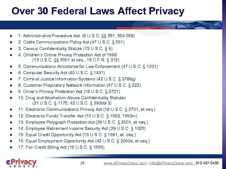 Over 30 Federal Laws Affect Privacy l l l l l 1. Administrative Procedure