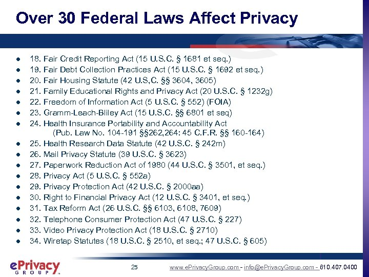 Over 30 Federal Laws Affect Privacy l l l l l 18. Fair Credit