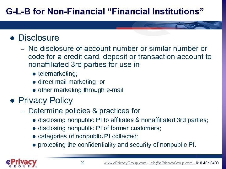 "G-L-B for Non-Financial ""Financial Institutions"" l Disclosure – No disclosure of account number or"