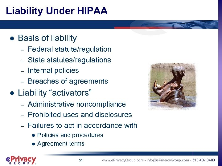 Liability Under HIPAA l Basis of liability – – l Federal statute/regulation State statutes/regulations