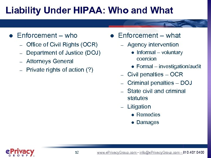 Liability Under HIPAA: Who and What l Enforcement – who – – l Office