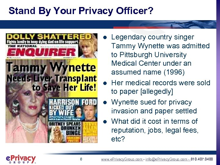 Stand By Your Privacy Officer? l l 6 Legendary country singer Tammy Wynette