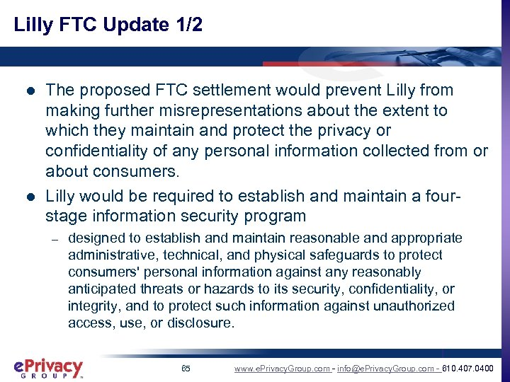 Lilly FTC Update 1/2 l l The proposed FTC settlement would prevent Lilly from