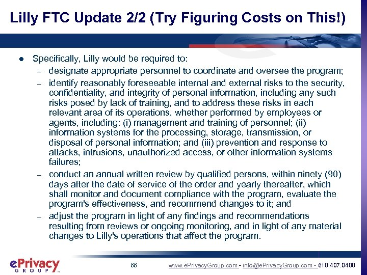 Lilly FTC Update 2/2 (Try Figuring Costs on This!) l Specifically, Lilly would be