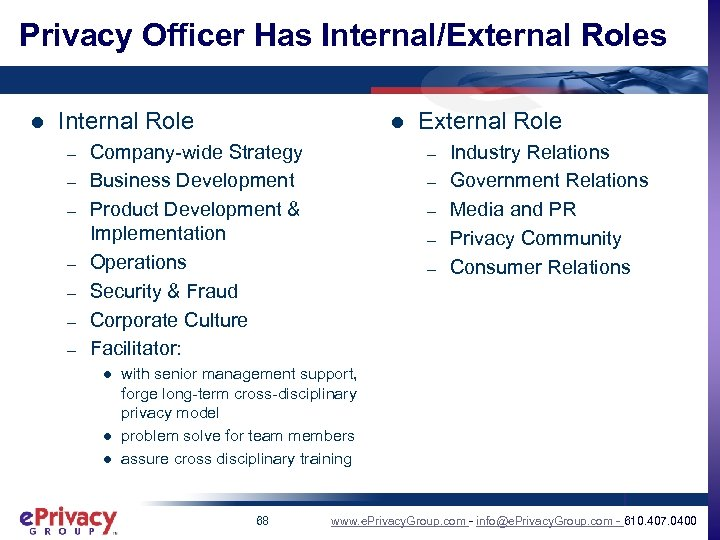 Privacy Officer Has Internal/External Roles l Internal Role – – – – l Company-wide