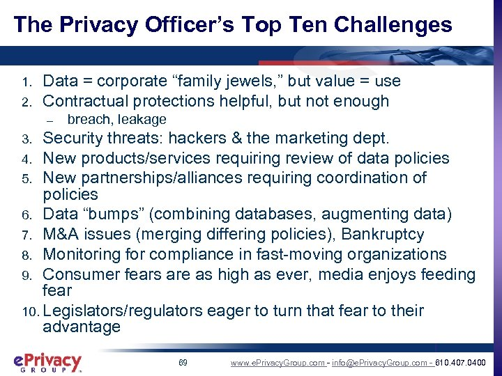 """The Privacy Officer's Top Ten Challenges 1. 2. Data = corporate """"family jewels, """""""