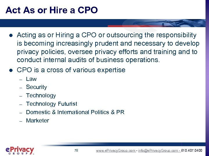 Act As or Hire a CPO l l Acting as or Hiring a CPO