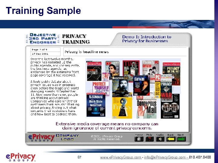 Training Sample 87 www. e. Privacy. Group. com - info@e. Privacy. Group. com -
