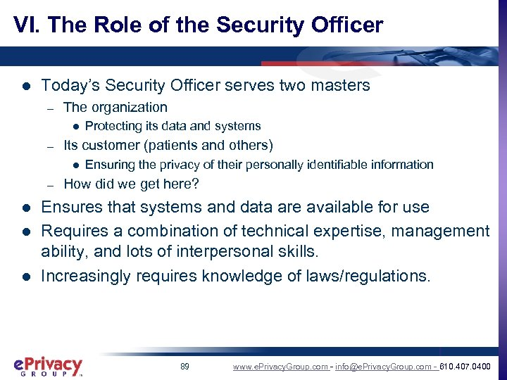 VI. The Role of the Security Officer l Today's Security Officer serves two masters