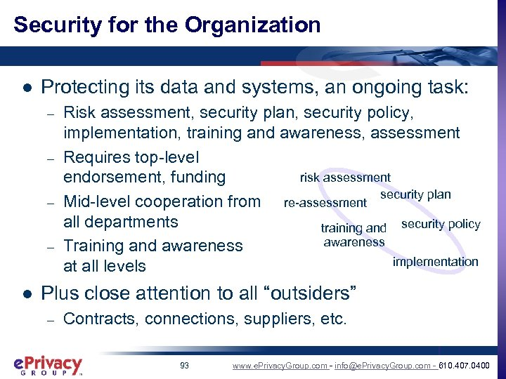 Security for the Organization l Protecting its data and systems, an ongoing task: –