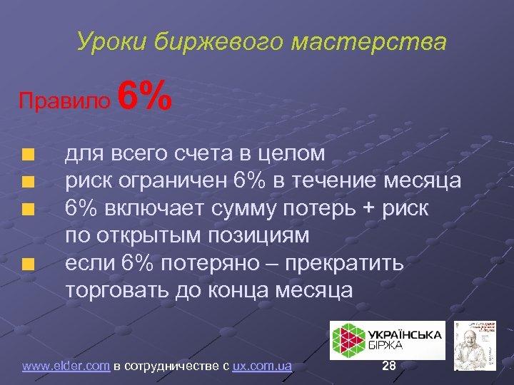 Уроки биржевого мастерства 6% Правило для всего счета в целом риск ограничен 6% в
