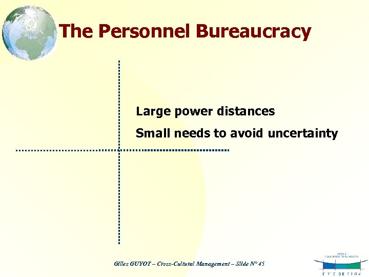 The Personnel Bureaucracy Large power distances Small needs to avoid uncertainty Gilles GUYOT –