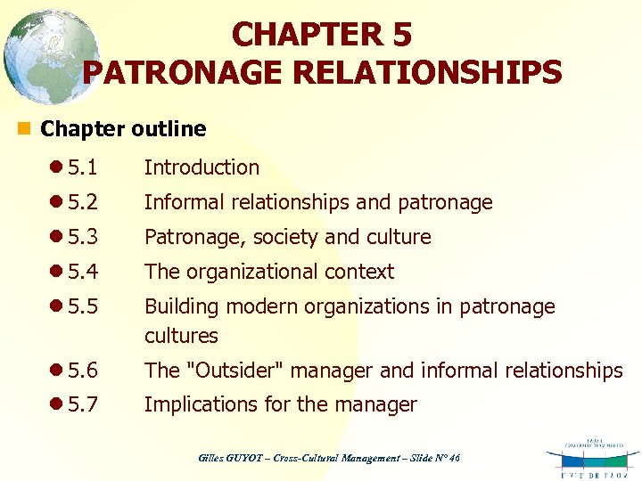 CHAPTER 5 PATRONAGE RELATIONSHIPS n Chapter outline l 5. 1 Introduction l 5. 2